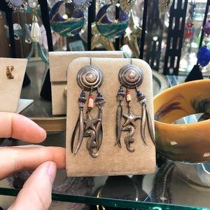 Vintage Jewelry - Wacky Silver Light Weight Sea Shell Gypsy Earrings
